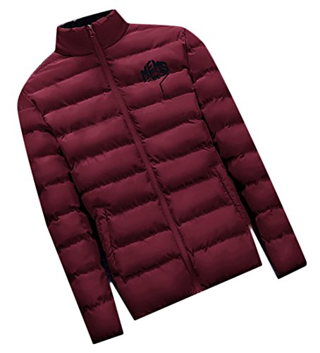 Generic Men's Warm Stand Collar Puffer Down Coats Jackets Wine Red