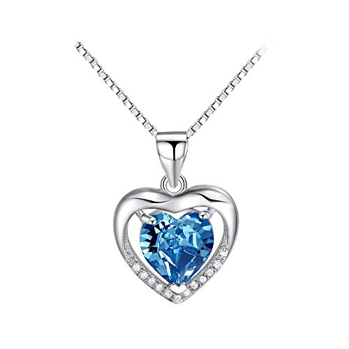 Everrich Heart Necklace Brave Heart Crystal Necklace Heart Shape Necklace Love Heart Necklace with Swarovski Crystal,Pink/Ocean Blue