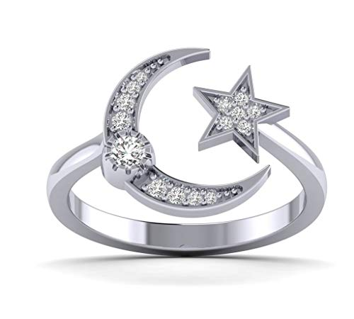 Fehu Jewel 0.20cts Natural Diamond Gold Over Sterling Silver Moon and Star Ring for Her (White-Gold-Plated-Silver, 7) (20 Carat Diamond Ring)
