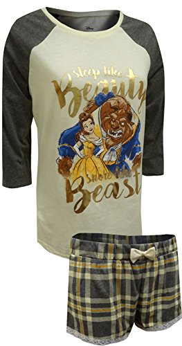 Disney Women's Beauty and the Beast Ls Shorty Set, White, SMALL - Gold Shorty Shorts