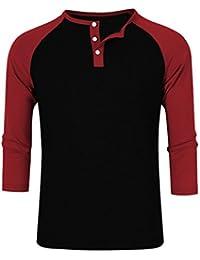 MrWonder Men's Casual Slim Fit Raglan Baseball 3/4 Sleeve Henley T-Shirts