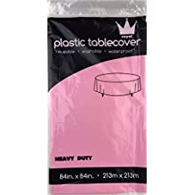"""Pack of: 12 Royal 84"""" Plastic Table Cloth, Plastic Party Table Cover, Reusable Plastic Table Cloth, Disposable Round table cover (ROUND PINK)"""
