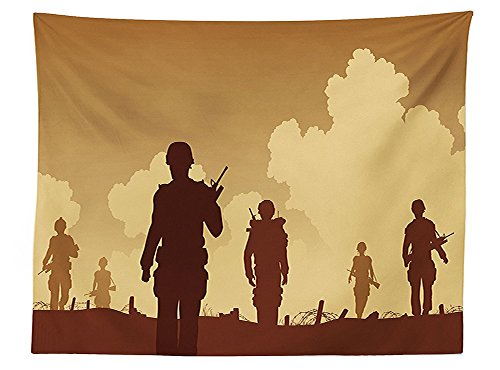 Alice Sequined Costumes (vipsung War Home Decor Tablecloth Soldier Shadows with Military Costumes and Weapons Walking on Patrol Print Dining Room Kitchen Rectangular Table Cover Brown)