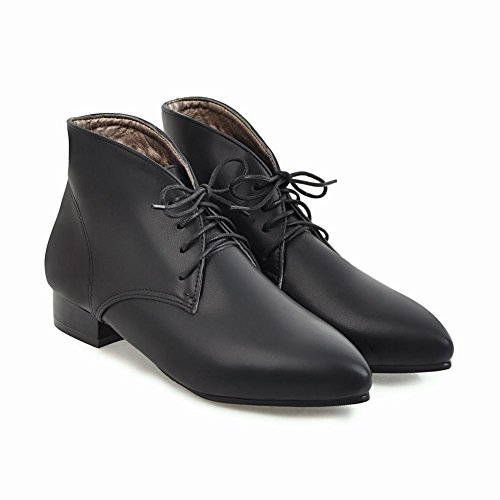 Carolbar Womens Lace Up Pointed Toe Retro Fashion Low Heel Oxfords Boots Black nNsXwdz