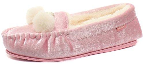 Dunlop Anouska Dames Moccasin Pantoffels Roze