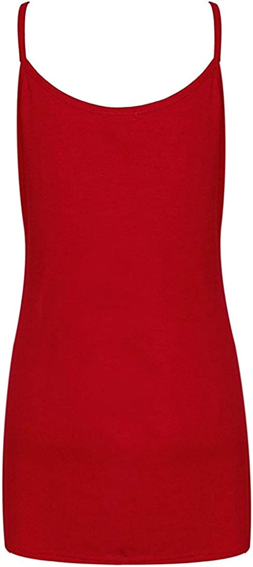 Purple Hanger Womens Plain Sleeveless Ladies Stretch Round Scoop Neckline Long Strappy T-Shirt Camisole Vest Tank Top