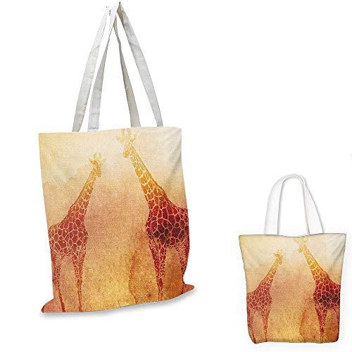 Safari canvas messenger bag Illustration Tropic African Giraffes Tallest Neck Animal Mammal in Retro Vintage Print canvas beach bag Orange. 16