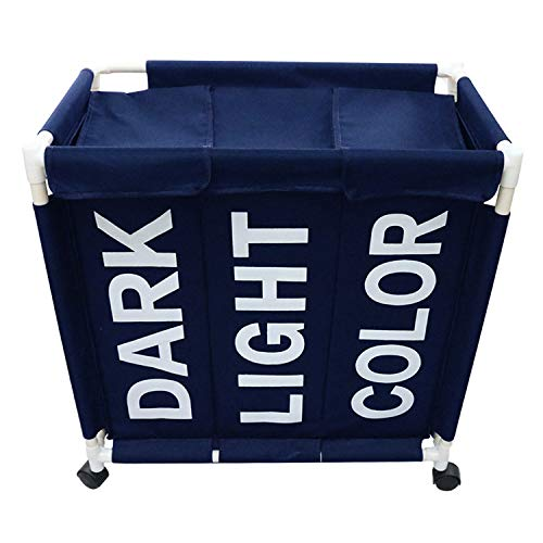 (Berry Ave Tri-Part Laundry Basket Hamper with Wheels (Dark, Light, Color) - Tall Tri-Part Bin Dirty Clothes Organizer for Kids, Adults - Home and College Use - Smart Rolling Design - Blue)