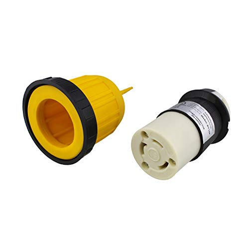 Dumble   L5-30R Connector with RV Power Cord Cover & Ring - 30 Amp Twist Lock Inlet Locking Plug Protector, 30A 125V