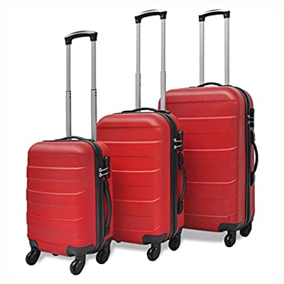 HomyDelight Suitcase, 3 Piece Hardcase Trolley Set Red