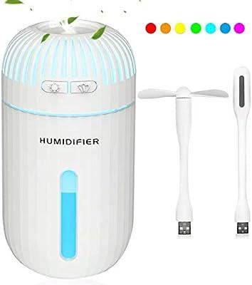 DA HENG Gunex Humidificador, 310ml Humidificadores Coche Ultrasónicos 7 Colores con un Ventilador y una lámpara, Humidificador de Niebla fría para bebé, Dormitorio, Yoga, SPA, Oficina, etc: Amazon.es: Hogar