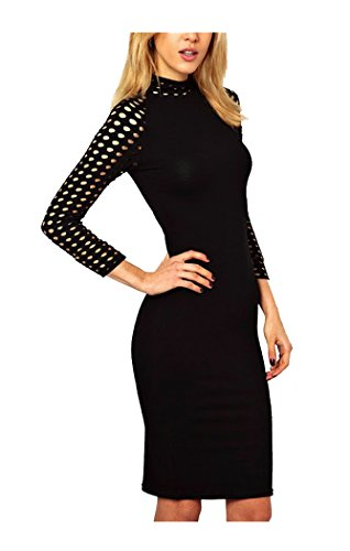Bodycon Dress 4 High Black Fashion Women's Women 3 Neck CA Pencil Sleeve 8taAxqvv