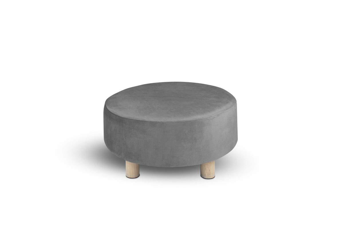 LIFA LIVING® Pouf Rotondo | Pouf Basso Stile Vintage | Pouf in Velluto e Legno di Pino | 60Ø x 30 cm | Grigio Mascot Online B.V.
