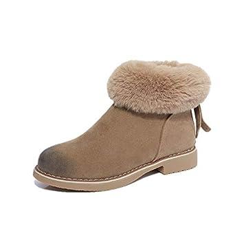 Shukun Botines Botas de Nieve de Suela Gruesa Zapatos de Piel Botas de Invierno Gruesas Botas