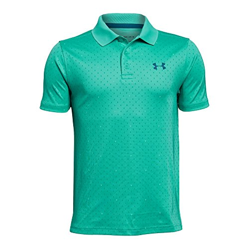Under Armour Boys' Performance Novelty Polo, Teal Punch (594)/Neon Coral, Youth Small ()