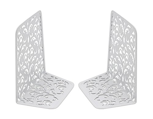 Fun Bookends (EasyPAG 6.5 Inch Desktop Bookends Carved Hollow Flower Pattern Design,White)