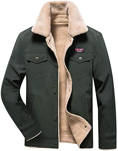 Fuwenni Mens Casual Sherpa Fleece Lined Trucker Jackets Warm Coat with Fur Collar