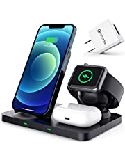 Wireless Charger Stand, Tenhoo Wireless Charging Dock Station 3 in 1, Wireless Charger Stand 15W for iWatch Series 6/5/4/3/2, AirPods 2/Pro, Fast Wireless Charger Compatible with iPhone 12/12 Pro/12 Pro Max/12 Mini/11/11 Pro Max/XR/XS