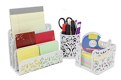 EasyPAG Carved Hollow Flower Pattern 3 in 1 Desk Organizer Executive Office Set - Letter Sorter , Pencil Holder and Stick Note Holder - Desk Organizer