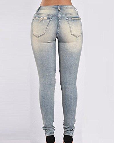 Immagine Come Matita Stretch Skinny Strappati Jeans I Leggings Pantaloni Donna vqzSH