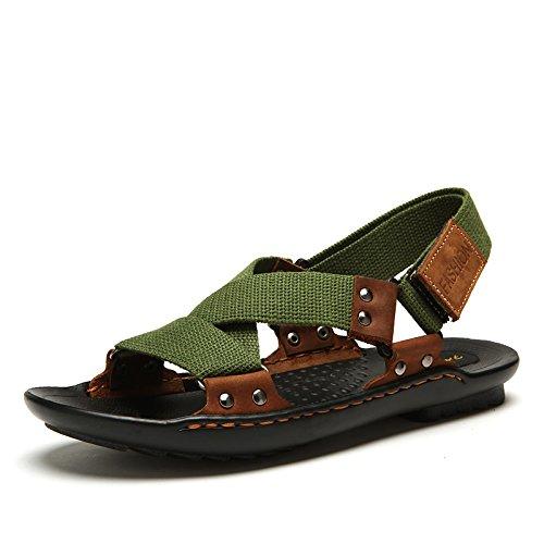 Xing Lin Sandalias De Hombre Verano Sandalias De Lona Transpirable Zapatos Marea De Jóvenes Varones green