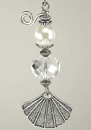 Smooth Pearl and Sea Shell with Facet-cut Crystal Light or Ceiling Fan Pull (Pearl Pull)