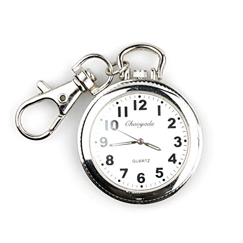 Vintage Ultra Thin Railroad Men's Silver-Tone Open Face Quartz Pocket Watch with Key - Pendant Keychain Watch
