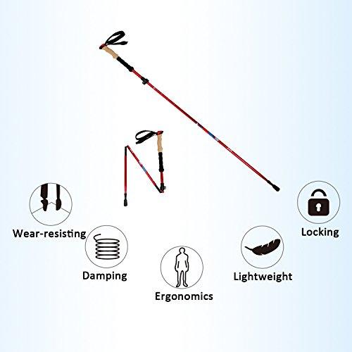 Vihir Collapsible 7075 Aluminum Alloy Hiking / Walking/Trekking Poles, Red