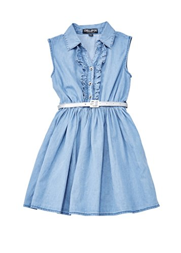 Chilipop-Denim-Dress-for-Girls-Ruffle-Detail-with-Silver-Belt-Blue