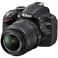 Nikon D3200 Digital SLR Camera (Black) with AF-S DX 18-55mm VR II and AF-S DX 55-200mm VR II, Double Zoom Kit with 8GB Card, Camera Bag