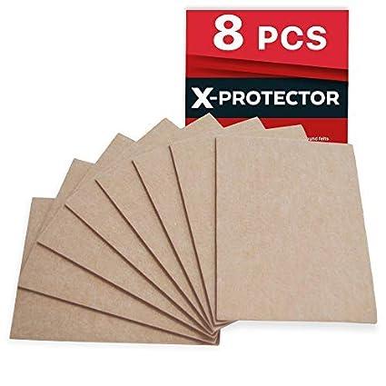 Fieltro adhesivo X-PROTECTOR – Deslizadores para muebles – 8 Premium fieltro autoadhesivo de 5 mm de grosor 20x16cm - Almohadillas fieltro Protegerán ...