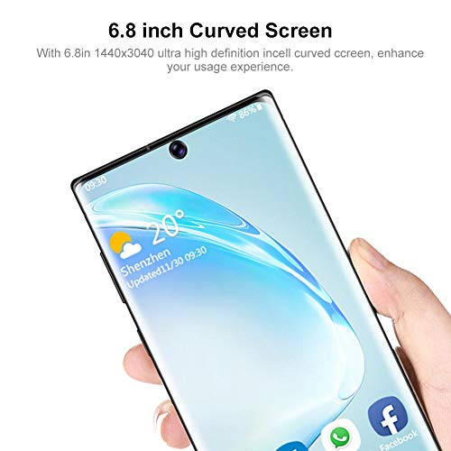 Intelligent Mobile Phone,Face Identification 6.8in 1440x3040 Ultra High Definition Incell Curved Screen Dual Cards Dual Standby Smartphone 8+128G 100-240V Black with 128G Memory Card(us Plug)