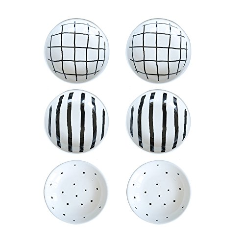 WAIT FLY 6pcs 3.5 Inches Cute Dot Stripes Ceramics Seasoning Dishes/Tea Bag Holders/Ketchup Saucer/Appetizer Plates/ Dipping Sauces Dipping Bowls Holiday Mother's Day Christmas Gift for Friends