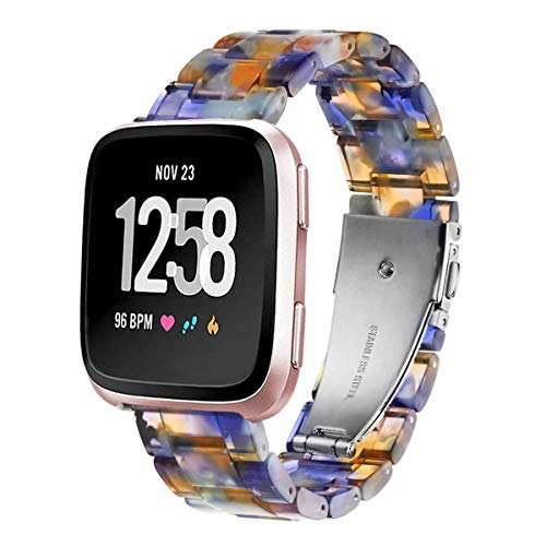 Ayeger Band Replacement for Fitbit Versa/Versa 2 Smart Watch/Special/Lite Edition, Fashion Resin Wristbands Women Men Replacement Bracelet Metal Stainless Steel Silver Buckle (Blue)