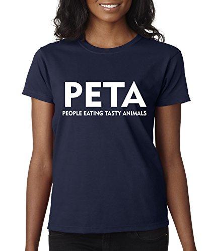 Eating Tasty Animals People (New Way 608 - Women's T-Shirt PETA People Eating Tasty Animals Parody Medium Navy)