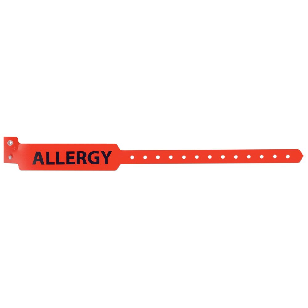 PDC Healthcare Sentry 5055-16-PDM Polyester Adult Alert Wristband,Allergy Pre-Printed, Permanent Snap Closure, Red (Box of 500)