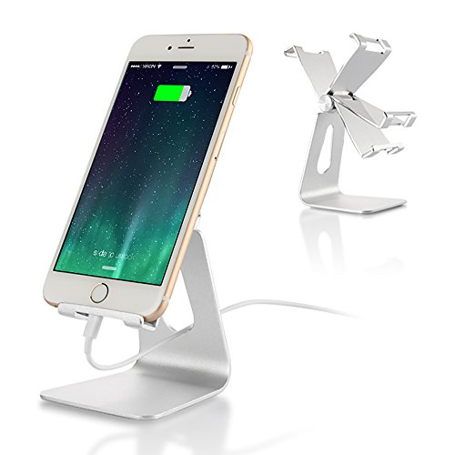 Desktop Cell Phone Stand Adjustable, iPad Stands : Tablet Stand Cradle, Desktop Holder for Switch, iPad Mini Air 2 3 4 Pro, iPhone 8 X 7 6 6s Plus 5 5s 5c Charging Accessories Desk - Silver