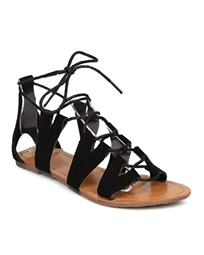 Women Faux Suede Gladiator Sandal - Casual, Costume, Everday - Lace Up Sandal - GD82 By Wild Diva - Black (Size: (Gladiator Costumes For Women)