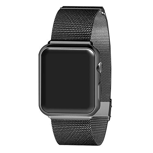 AWOOWELL for Watch Band 38mm 40mm,Stainless Steel Mesh Metal Loop with Adjustable Magnetic Closure Replacement Bands for Iwatch Series 4 3 2 1 Black