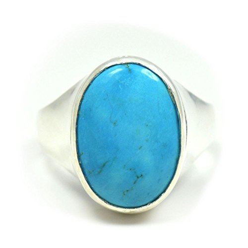 55Carat Natural Turquoise Silver Ring For Men 9 Carat Oval Astrological Size 4,5,6,7,8,9,10,11,12,13 - 10 Oval Mens Ring Setting