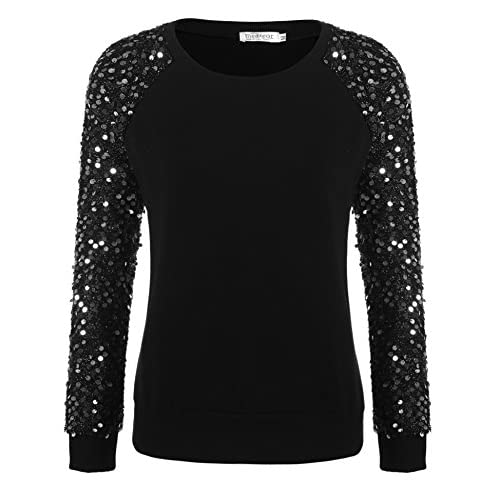 6b1627db84d52c 50%OFF Meaneor Womens Sequined Pullover Long Sleeve Sweatshirt ...