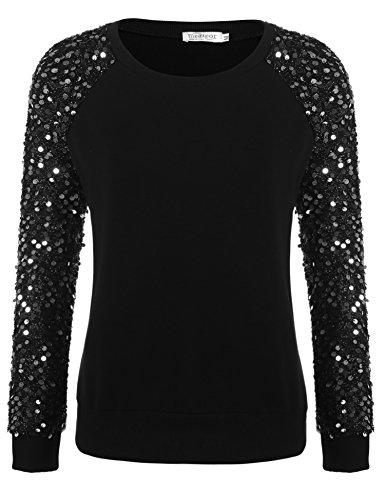 Meaneor Womens Sequined Pullover Long Sleeve Sweatshirt, Black