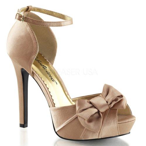 Fabulicious Kvinna Lumina36 Peep Toe Vristen Mode Pump Rodna Satin