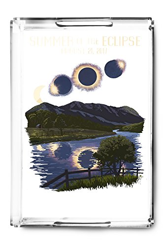 Solar Eclipse 2017 - Summer of the Eclipse (Acrylic Serving Tray) by Lantern Press