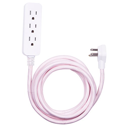Cordinate Designer 3-Outlet Extension Cord, 3 Prong Power Strip Surge Protector, Extra Long 10 Ft Cable with Flat Plug, Braided Chevron Cord, Tamper Resistant Safety Outlets, Pink/White, 41887