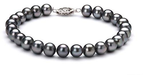 7mm Genuine Black Pearl Bracelet - 4