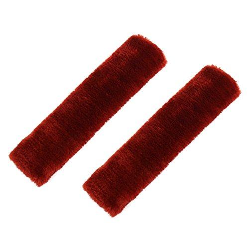 (baiou One Pair Fuzzy car seat Belt Covers Shoulder Pads Winter Faux Wool car Seat Belt Pads Soft Plush Shoulder Pad car Interior (Wine)