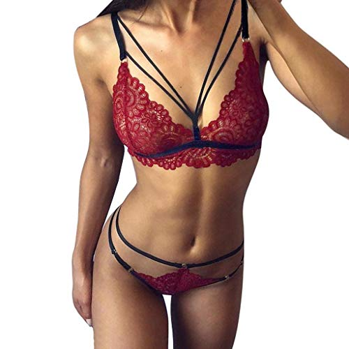 (Simayixx Women Sexy Lingerie Babydoll Bodysuit Bralette Bra and Panties Set G-String Underwear Sleepwear Strap Chemise Wine Red)