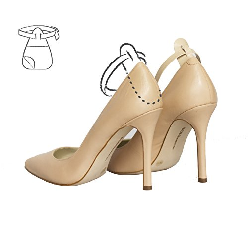 Ginger Straps Attachable and Detachable Shoe Straps - Hold Loose High Heeled Shoes, Stilettos, Wedges and Flats (Nude) - One Size Fits (Detachable Strap)