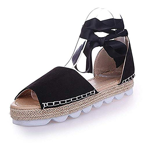 Lace Wrap Lace Up (Minetom Womens Spring Summer Flat Heel Ankle Strap Sandal Open Toe Straw Sandals Shoes Black 10 B (M) US)